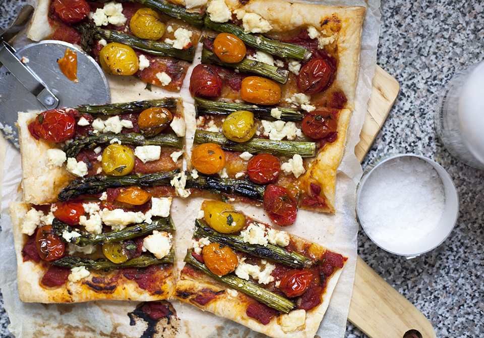 grilled asparagus and herbed feta tart with buttercups - bite