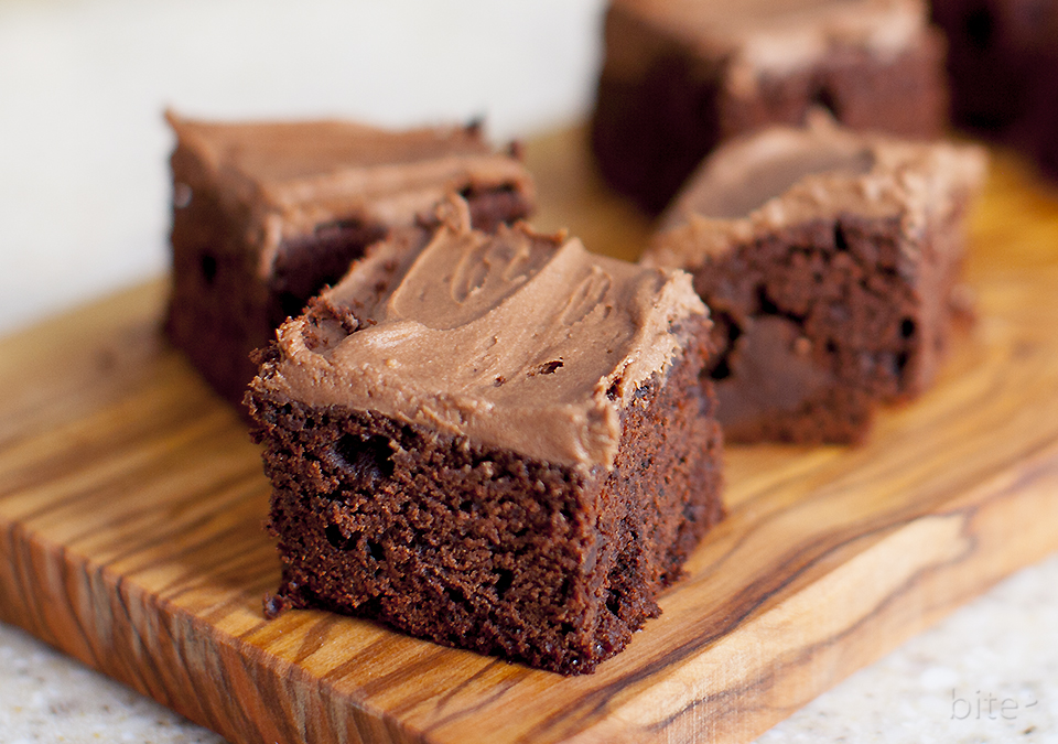 chocolate chunk brownies with chocolate fudge frosting